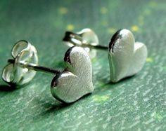 Brushed Heart Sterling Silver Stud Earrings Valentine Jewelry Gift Post Earrings Studs