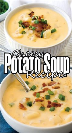 Learn how to make the best cheesy potato soup with bacon in a creamy base (without heavy cream). Go-to 30 minute recipe! Crock Pot Recipes, Crock Pot Soup, Easy Soup Recipes, Kraft Recipes, Cooker Recipes, Potato Soup Recipes, Recipes Dinner, Vegetarian Recipes, Homemade Potato Soup