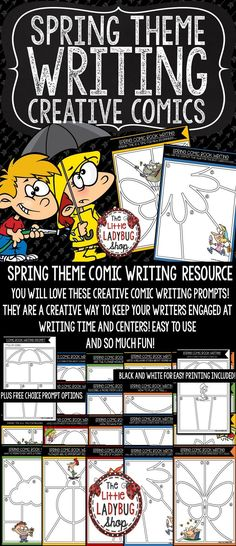 You will LOVE this SPRING Writing Comic Prompts. This resource was created to use in your literacy/ writing centers! They are FUN and CREATIVE comic prompts! These comic writing prompts are perfect to inspire your creative writers in your classroom writing literacy writing centers, stations, or writers workshop, or homework! You will love seeing your students creativity and love of writing with these!