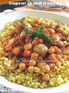 » Ciuperci cu naut si cuscusCulorile din Farfurie New Recipes, Vegan Recipes, Cooking Recipes, Romanian Food, Chana Masala, Food And Drink, Vegetables, Breakfast, Ethnic Recipes