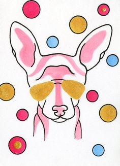 Pink Chihuahua Art Dog in Sunglasses miniature by ClarityArtDesign