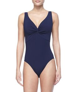 Twist-Front One-Piece by Karla Colletto at Bergdorf Goodman.