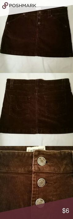 Brown Corduroy Mini Skirt No Boundaries mini skirt, Size 9. Really great for fall!! Brown Corduroy, front & back pockets, 3 buttons in front. No Boundaries Skirts Mini