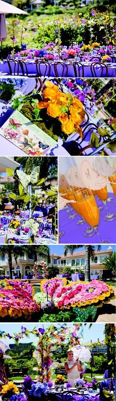Butterfly Bridal Shower IV: No detail was left unturned here, from florals in the shape of butterflies to butterfly drink tags to butterflies peeking out of corner along the vibrantly adorned tables. Could change it up to not be for bridal shower; think birthday, picnic, etc.