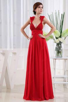 A-Linie Bateau-Ausschnitt Perlen Bustband bodenlangen Chiffon Red 2013 Prom Dresses198,47 €   113,41 €