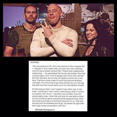 Michelle about the loss of Paul Walker #RememberTheBuster #FastFamilyforLife