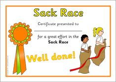 Simple certificates to present to participants of your sack race on sports day. Sports Day Certificates, Sack Race, Soccer Photography, Super Sport, Sports Humor, Sports Illustrated, Team Building, Sport Outfits, Activities For Kids
