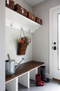Gray mudroom paint color is Benjamin Moore HC-170 Stonington Gray // Simply White Trim