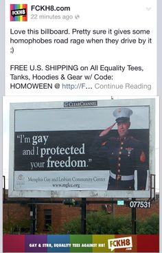 """""""I'm gay and I protected your freedom"""" billboard"""