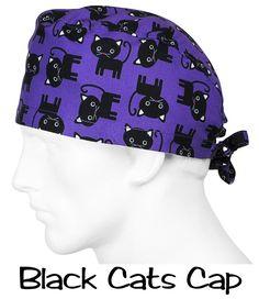 Scrub Hat Black Cats