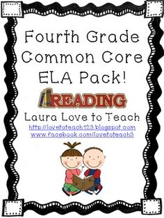 4th Grade Common Core ELA Pack! 86 pages of literacy games, task cards, vocabulary/dictionary practice, posters, and more!