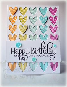Use the Happy Heart stamp set and Cover plate to create this Happy Birthday card with a rainbow of pastel colors.  Pop some of the hearts with foam tape for a layer of dimension - add sequins for some sparkle!  Handmade card