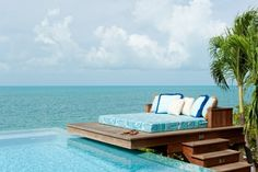 builtin pool deck lounger Outdoor Beds, Outdoor Seating, Outdoor Spaces, Outdoor Living, Outdoor Bedroom, Outdoor Photos, House Of Turquoise, Turquoise Bedrooms, Turquoise Bathroom