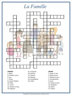 his printable crossword has the French words for various family members as answers. The 24 clues are in English. French Language Lessons, French Language Learning, French Lessons, English Lessons, French Teacher, Teaching French, French Worksheets, French For Beginners, French Verbs