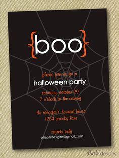 spooky boo halloween party invite