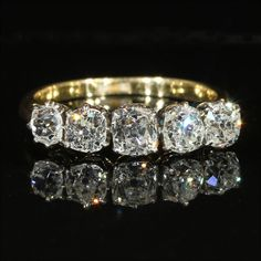 Antique Edwardian 5 Stone Cushion Cut Diamond Ring in 18k & Platinum, 1.9ctw ~ From Vsterling on Ruby Lane