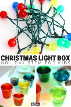 Christmas science using Christmas lights to make your own homemade light box or mini light table using a storage container. Explore color mixing using christmas lights for a great holiday STEM activity!