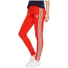 adidas Originals 3-Stripes Leggings ($35) ❤ liked on Polyvore featuring pants, leggings, cuff pants, red pants, red striped leggings, cotton pants and cuffed pants