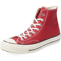 Converse Chuck Taylor All Star '70 Hi Top ($45) ❤ liked on Polyvore featuring men's fashion, men's shoes, men's sneakers et red