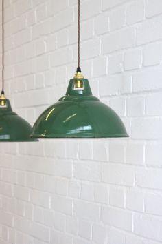 Vintage Industrial Green Enamel Factory Lights 4 Available Factory Lighting, Vintage Industrial Lighting, White Enamel, Pendant Lighting, Ceiling Lights, Green, Home Decor, Decoration Home, Room Decor
