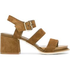 Tod\'s Strappy Block Heel Sandals (46,670 INR) ❤ liked on Polyvore featuring shoes, sandals, block heel shoes, strap sandals, light brown suede shoes, suede leather shoes and light brown shoes