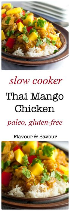 Sweet mangoes, spicy peppers and fresh lime combine to make this Slow Cooker Thai Mango Chicken a family favourite. Paleo and gluten-free. |www.flavourandsavour.com