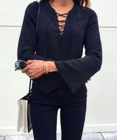 Black lace up blouse.