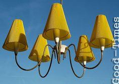 Hängelampe Deckenlampe Lüster 50er Jahre 50s Lampe 5armig mit gelben Schirmen