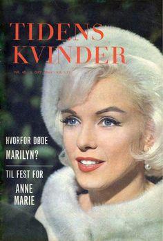 Marilyn Monroe on the cover of Tidens Kvinder magazine, October 1964, Denmark. Cover photo of Marilyn on the set of Something's Got To Give, 1962.