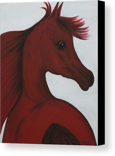 Horse Painting Canvas Print featuring the painting Red Arabian Passion 1 by THELLI Helenia Tedesco