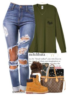 """""""• Overtime x Bryson Tiller"""" by tweetiebabiee ❤ liked on Polyvore featuring moda, NARS Cosmetics, Topshop, Louis Vuitton, Timberland, H&M e Ray-Ban"""