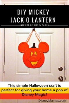 DIY Mickey Jack-o-Lantern Decor. A simple project that adds a little Disney Magic to your Halloween!