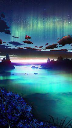 Auroa Emerald Green Sky - IPhone Wallpapers