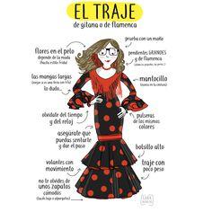 El traje de gitana o de flamenca, no de faralaes (no es un término andaluz 😉) inspirado en las faldas de las campesinas del s.XVI. Sabiendo adaptarse a los diferentes tiempos y a la moda. Se complementa con flores, peinetas y peinecillos en el pelo,...