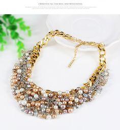 Magniloquent Multicolor Pearl Decorated Weave Design  Alloy Fashion Necklaces,Fashion Necklaces