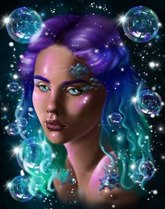 Painting created with Procreate Galaxy Painting, Galaxy Art, Fantasy Art Women, Digital Art Girl, Figure It Out, Types Of Art, Love Is All, Female Art, Bubbles