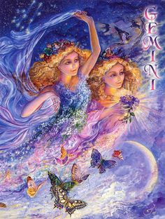 Fairy and fantasy art images, fairy pictures & drawings, flower and butterfly illustrations from Fairies World. Fairies World, Fairy & Fantasy Art Gallery - Josephine Wall/Gemini© Josephine Wall, Zodiac Signs Gemini, Zodiac Art, Gemini Traits, Libra Sign, Astrological Sign, Horoscope Signs, Art Expo, Gemini Woman