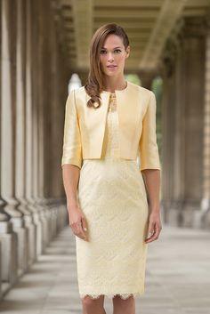 John Charles 25999B Lace Overlay Dress & Matching Jacket in Lemon/Ivory, Powder Blue/Ivory & Coral/Ivory