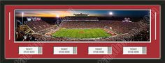 One framed large University of Oklahoma stadium panoramic with openings for 1, 2, 3, or 4 ticket stubs*, double matted in team colors to 39 x 13.5 inches.  The lines show the bottom mat color.  $189.99 @ ArtandMore.com
