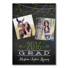 chalkboard theme graduation announcement