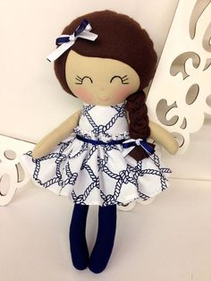 Rag Dolls Nautical, Handmade Doll, Fabric Doll, Cloth Doll, Girl Gift, Handmade baby doll, Homemade doll, soft fabric doll