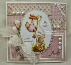 baby girl card by Trine Kristiansen Baby Girl Cards, Owl Punch, Cardmaking, New Baby Products, Stampin Up, Greeting Cards, Board, How To Make, Kids