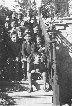 A group of children who crossed the Pyrenees into Spain with the help of the French Resistance and made their way to Portugal. At the children's home in the town of Estoril. Portugal, 1944