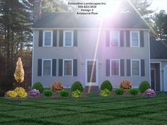 Colonial home front yard landscape design, attleboro, MA | Front of ...