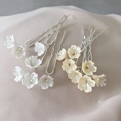 Bridal Hair Pins Small White Flower, Wedding Hair Piece Silver, Accessories for Bride, Baby Breath Hairpins Wedding Accessories For Bride, Wedding Hair Accessories, Silver Accessories, Wedding Jewelry, Bridal Hair Pins, Bridal Hair Flowers, Flower Bouquets, Bridal Bouquets, Wedding Flowers
