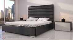 "Beverly Bed Black-59"" headboard www.xpressbeds.com   South Florida Modern Furniture delivered from Miami Dade warehouses. Same day delivery in South Florida and within days Nationwide. Modern Bedroom Furniture, Black Bedding, Warehouses, South Florida, Mattress, Miami, Delivery, Home Decor, Decoration Home"