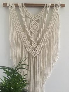 Makramee Wandbehang, Makramee Wandbehang, Makramee Wandbehang, gewebte Wandbehang, Boho Dekor… - All About Decoration Macrame Wall Hanging Patterns, Macrame Wall Hanging Diy, Macrame Art, Macrame Projects, Macrame Knots, Macrame Wall Hangings, Etsy Macrame, Free Macrame Patterns, Driftwood Macrame