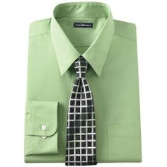 Big & Tall Croft & Barrow Classic-Fit Point-Collar Dress Shirt and Patterned Tie Boxed Set, Mens, Size: 17 36/7T, Green