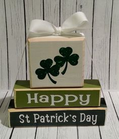 3 Stack St Patricks Day Custom Wooden by SassyNanaDesigns on Etsy, St Patrick's Day Crafts, Holiday Crafts, Holiday Fun, Holiday Decor, Wood Block Crafts, Wood Crafts, Wood Blocks, Sant Patrick, Saint Patrick's Day