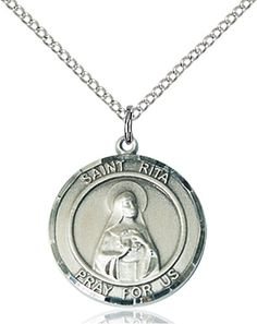 My Altar Saint Catherine of Bolognia Black Stainless Steel Pendant Necklace
